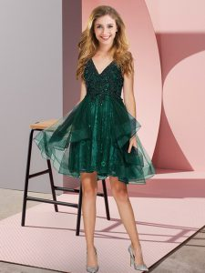 Dramatic Dark Green Vestidos de Damas Prom and Party and Wedding Party with Appliques and Ruffles V-neck Sleeveless Backless