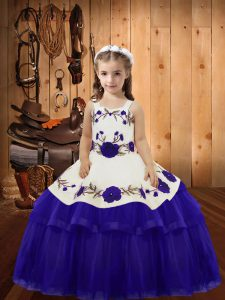 Sleeveless Lace Up Floor Length Embroidery and Ruffled Layers Girls Pageant Dresses