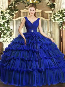 Cheap Organza V-neck Sleeveless Backless Beading and Ruffled Layers 15 Quinceanera Dress in Royal Blue