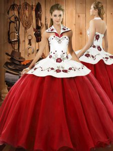 Custom Design Sleeveless Floor Length Embroidery Lace Up Quinceanera Dresses with Wine Red