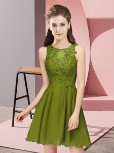 Exceptional Empire Quinceanera Court of Honor Dress Olive Green Scoop Chiffon Sleeveless Mini Length Zipper