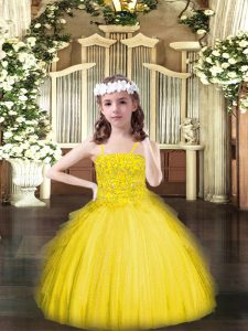 Floor Length Ball Gowns Sleeveless Yellow Kids Formal Wear Lace Up