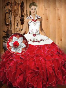 Sleeveless Satin and Organza Floor Length Lace Up Quinceanera Dress in White And Red with Embroidery and Ruffles