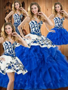Attractive Floor Length Blue Ball Gown Prom Dress Satin and Organza Sleeveless Embroidery and Ruffles
