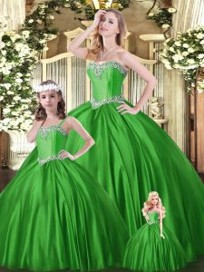 Elegant Sweetheart Sleeveless Quinceanera Gowns Floor Length Beading Green Tulle