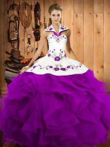 Delicate Purple Ball Gowns Halter Top Sleeveless Satin and Organza Floor Length Lace Up Embroidery and Ruffles Sweet 16 Dress