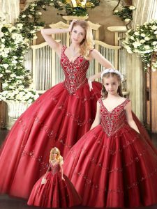 Romantic Floor Length Lace Up Quince Ball Gowns Red for Military Ball and Sweet 16 and Quinceanera with Beading