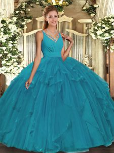 Teal V-neck Neckline Beading 15th Birthday Dress Sleeveless Backless