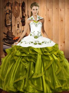 Sleeveless Satin and Organza Floor Length Lace Up Sweet 16 Quinceanera Dress in Olive Green with Embroidery and Ruffles