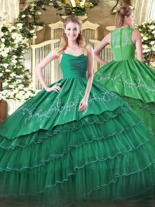 Straps Sleeveless Organza Ball Gown Prom Dress Embroidery and Ruffled Layers Zipper
