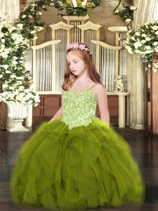 Superior Olive Green Tulle Lace Up Spaghetti Straps Sleeveless Floor Length Pageant Dress Toddler Appliques and Ruffles