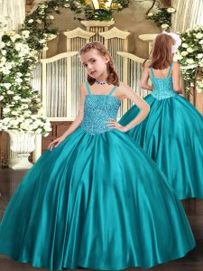 Teal Child Pageant Dress Straps Sleeveless Zipper