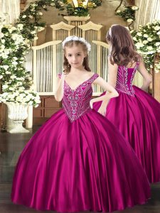 Unique Sleeveless Satin Floor Length Lace Up Little Girl Pageant Gowns in Fuchsia with Beading