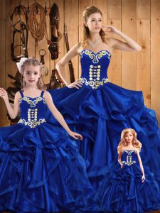 Customized Sleeveless Organza Floor Length Lace Up Sweet 16 Dress in Royal Blue with Embroidery and Ruffles