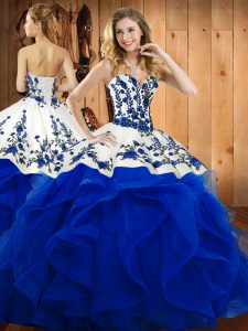 Sweetheart Sleeveless Lace Up Sweet 16 Dresses Blue Satin and Organza