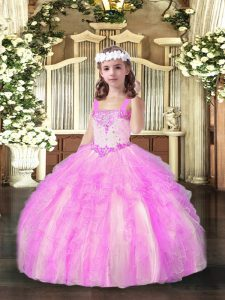 High End Organza Straps Sleeveless Lace Up Beading and Ruffles Little Girls Pageant Dress in Lilac