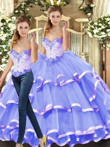 Cheap Beading and Ruffled Layers Sweet 16 Quinceanera Dress Lavender Lace Up Sleeveless Floor Length