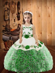 Latest Multi-color Lace Up Little Girls Pageant Dress Embroidery and Ruffles Sleeveless Floor Length