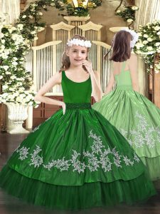 Enchanting Dark Green Zipper Scoop Beading and Appliques Little Girl Pageant Dress Taffeta Sleeveless