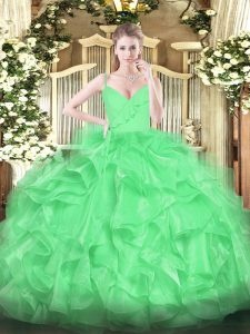Sexy Organza Sleeveless Floor Length Sweet 16 Quinceanera Dress and Ruffles