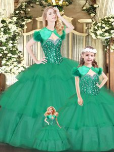 Eye-catching Floor Length Ball Gowns Sleeveless Green Quinceanera Dress Lace Up
