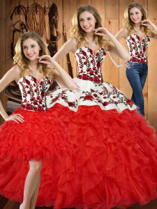 Elegant Red Quinceanera Gown Military Ball and Sweet 16 and Quinceanera with Embroidery and Ruffles Sweetheart Sleeveless Lace Up