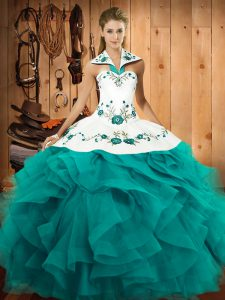 Comfortable Teal Tulle Lace Up Vestidos de Quinceanera Sleeveless Floor Length Embroidery and Ruffles