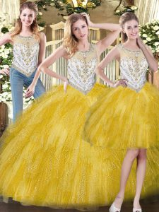 Most Popular Yellow Three Pieces Scoop Sleeveless Organza Floor Length Zipper Beading and Ruffles 15th Birthday Dress
