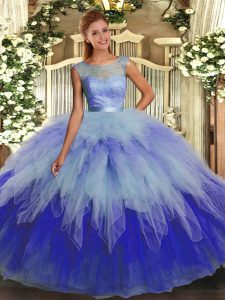 Multi-color Tulle Backless Quinceanera Dress Sleeveless Floor Length Ruffles