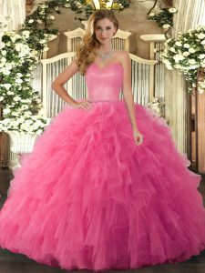 Sophisticated Hot Pink Lace Up Sweet 16 Quinceanera Dress Ruffles Sleeveless Floor Length