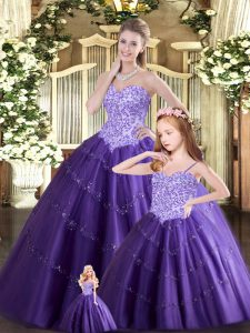 Hot Sale Purple Tulle Lace Up Sweetheart Sleeveless Floor Length Sweet 16 Quinceanera Dress Beading