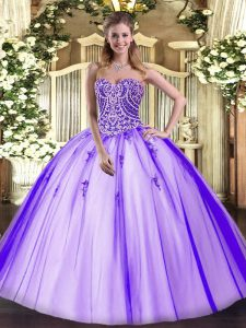 High End Lavender Ball Gowns Beading Sweet 16 Dress Lace Up Tulle Sleeveless Floor Length