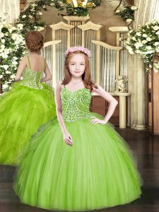 Lace Up Little Girls Pageant Dress Wholesale Beading and Ruffles Sleeveless Floor Length