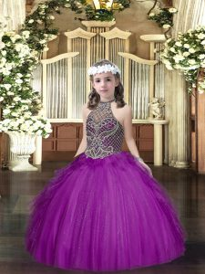 Purple Halter Top Lace Up Beading and Ruffles Kids Formal Wear Sleeveless