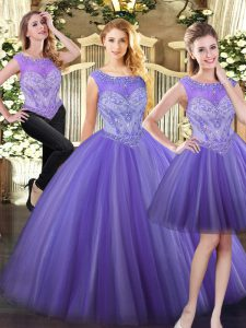Classical Floor Length Zipper Sweet 16 Dresses Lavender for Military Ball and Sweet 16 and Quinceanera with Beading
