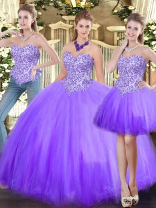 Beading 15th Birthday Dress Lavender Lace Up Sleeveless Floor Length
