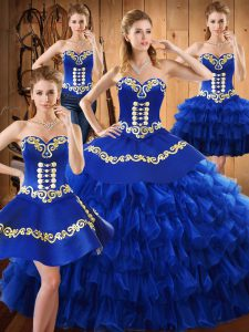 Low Price Floor Length Lace Up Quinceanera Gown Blue for Military Ball and Sweet 16 and Quinceanera with Embroidery and Ruffled Layers