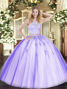 Romantic Floor Length Lavender Vestidos de Quinceanera Scoop Sleeveless Zipper