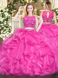 Floor Length Hot Pink Quinceanera Dress Tulle Sleeveless Beading and Ruffles