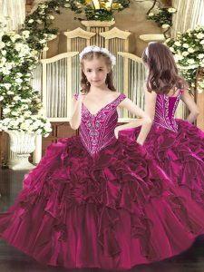 V-neck Sleeveless Organza Pageant Dress Wholesale Beading and Ruffles Lace Up