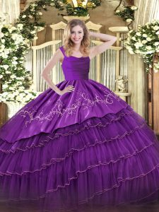 Most Popular Floor Length Eggplant Purple Quinceanera Gown Organza and Taffeta Sleeveless Embroidery and Ruffled Layers
