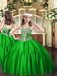 New Arrival Green Sleeveless Floor Length Appliques Lace Up Kids Pageant Dress