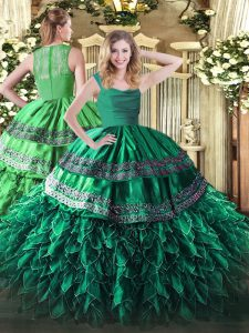 Turquoise Ball Gowns Organza Straps Sleeveless Appliques and Ruffles Floor Length Zipper Sweet 16 Dresses
