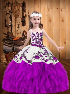 Gorgeous Purple Ball Gowns Straps Sleeveless Organza Floor Length Lace Up Beading and Embroidery Pageant Dress