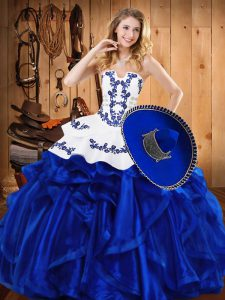 Simple Blue Strapless Lace Up Embroidery and Ruffles Ball Gown Prom Dress Sleeveless