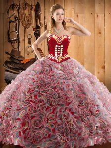 Inexpensive Sleeveless Sweep Train Lace Up With Train Embroidery Sweet 16 Dresses
