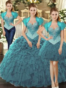 Flare Tulle Straps Sleeveless Lace Up Beading and Ruffles Quinceanera Gowns in Teal