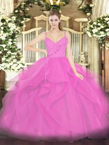 Lilac Ball Gowns Spaghetti Straps Sleeveless Tulle Floor Length Zipper Ruffles 15th Birthday Dress
