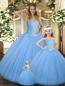 Glittering Baby Blue Tulle Lace Up Sweetheart Sleeveless Floor Length Sweet 16 Quinceanera Dress Beading