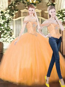 Dynamic Orange Red Ball Gowns Beading and Ruffles 15 Quinceanera Dress Lace Up Organza Sleeveless Floor Length